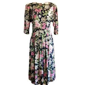 1980s Floral Print Shoulder Pad Vintage Dress